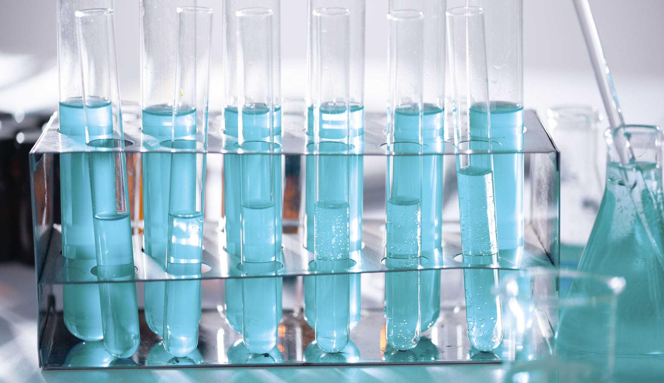 Test tubes filled with solution